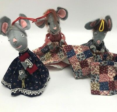 4 Vintage Mouse Quilting Christmas Ornaments Mice Sewing Crafting Handmade