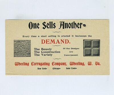 Vintage Advertising Paper Wheeling WV Corrugating Co Tin Ceiling Panels bv9970