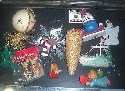Vintage Lot of 10 Old Christmas Tree Ornaments & Decorations