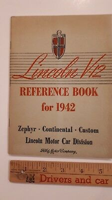 1942 LINCOLN V-12 - Original Owner's Manual/Reference Book - Excellent Condition