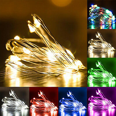 1-5M 10-50 LEDs Battery Operated Mini LED Copper Wire String Fairy Lights Party