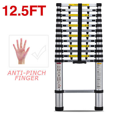 12.5FT Anti-Pinch Finger Ladder ExtensionTelescoping Portable Folding Telescopic