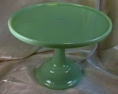 "9"" Pedestal Plain & Simple Cake Plate Jadeite Glass Jadite Salver"