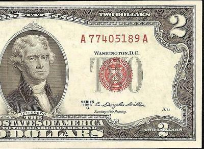 UNC 1953 C $2 TWO DOLLAR BILL LEGAL TENDER UNITED STATES RED SEAL NOTE Fr 1512