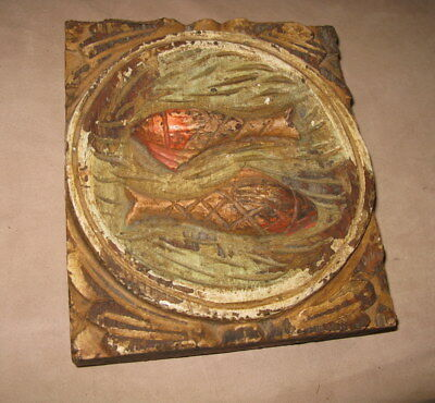 Antique Wall Art Hand Carved Wood Relief Of Pair Of Fish Fishing Plaque