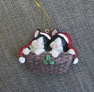 Cats in Baskett BLACK/WHT Kittens w/Santa Hats Christmas Ornament CLEARANCE