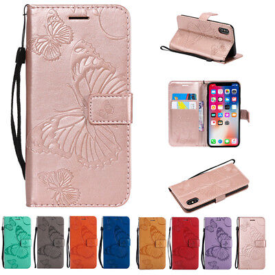 Embossed Butterfly Leather Wallet Flip Cover Phone Case for iPhone Xs Max/XS/XR