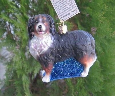 Old World Christmas BERNESE MOUNTAIN DOG Blown Glass Dog Breed Ornament
