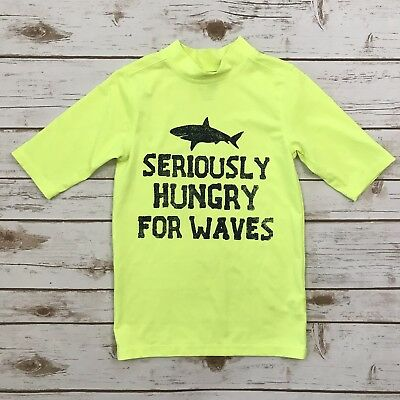 CHILDREN'S PLACE Boys Size 7/8 Bright Yellow Shark Short Sleeved Swim Rash Guard