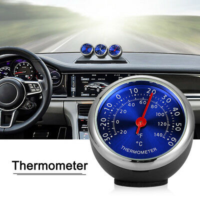 Steel Car Biue Temperature Thermometer Meter Dashboard Table Ornament Decor Exqu