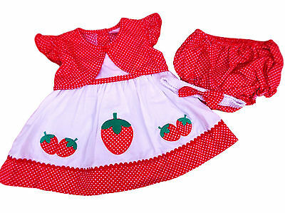 BNWT Baby girls red & white strawberry and polka dot dress knickers hairband