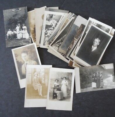 Lot of 50 Real Photo RP Postcards Early 1900s People Men Women Children Groups