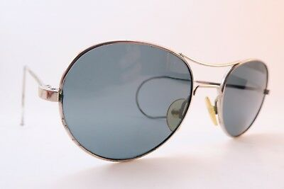 Vintage 40s aviator sunglasses metal coil arm glass lens made in France