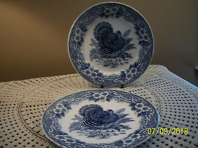 TWO Thanksgiving Queen's Myott Turkey Blue White Plates