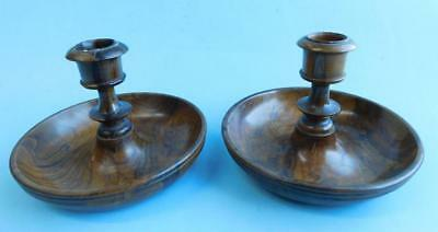 Great War era Lathe Turned Olive Wood Travelling Campaign Candlesticks Treen