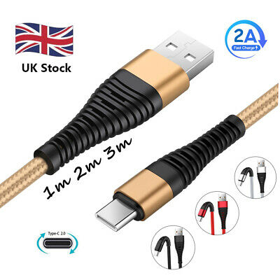 UK 1~3M Braided Type C Fast Charging Cable USB-C Rapid Cord Power Charger Charge