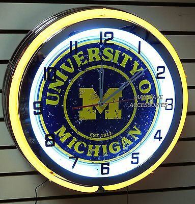 """18"""" University of MICHIGAN Wolverines Sign Double Neon Clock Go Blue"""