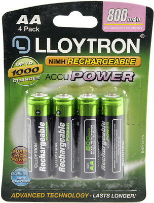 4 x Lloytron AA Rechargeable Batteries 800 mAh NiMH Phone Remote Camera