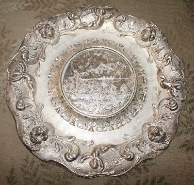 Vintage Silver Tone Metal Decorative Plate, Made in ITALY, Lion's & Putti Relief
