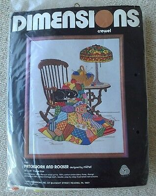 Dimensions crewel embroidery kit Patchwork and Rocker with cat by Michel