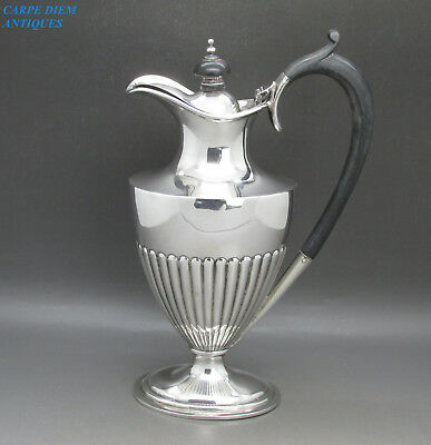 VINTAGE STYLISH HEAVY SOLID STERLING SILVER HOT WATER JUG, 319g, SHEFFIELD 1924