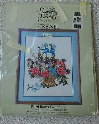 Something Special crewel embroidery kit Floral Basket Picture DMC