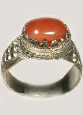18thC Russian Ukrainian Crimean Tatars Silver Ring Orange Carnelian Gem Size 8½