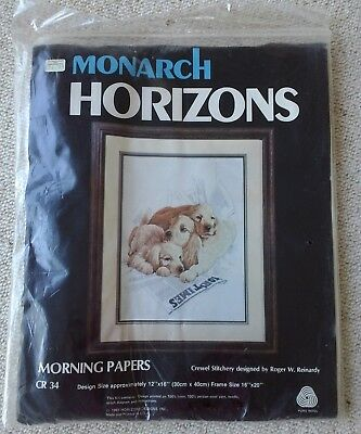 Monarch Horizons dogs crewel embroidery kit Morning Papers by Reinardy