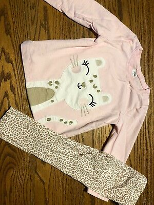 Carters Toddler Girls Size 3T Top & Bottoms Outfit Cat, Leopard