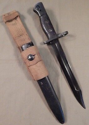 WWII British Army JUNGLE CARBINE Bayonet W/ Metal Scabbard & Khaki Canvas Frog