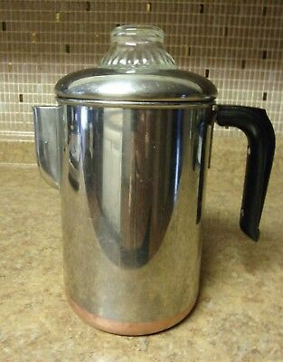 Revere Ware 1801 2-8 Stainless Steel Percolator Coffee Maker Pot Copper Bottom