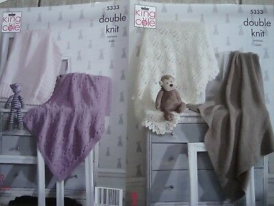 King Cole 5333 Baby's Blankets DK Knitting Pattern