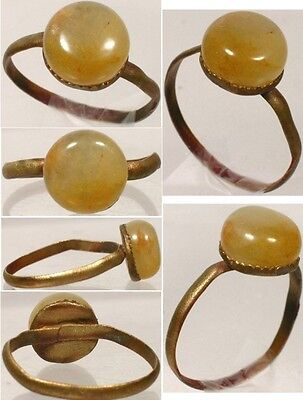 AD900 Roman Byzantine Constantinople Ring Sz8½ + Antique 18thC 4ct Carnelian Gem