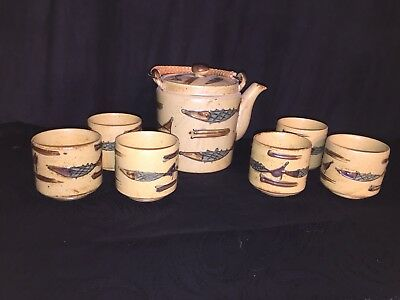 Vintage Japan Teapot With Bamboo Handle And 6 Matching Cups ~ 3-D Fish Deco 🐟