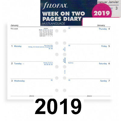 Filofax 19-68227 Pocket Week On Two Pages 2019 Diary Calendar Refill