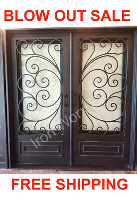 1021D Double Front Entry Wroght Iron Door with Operable Glass 74 x 81