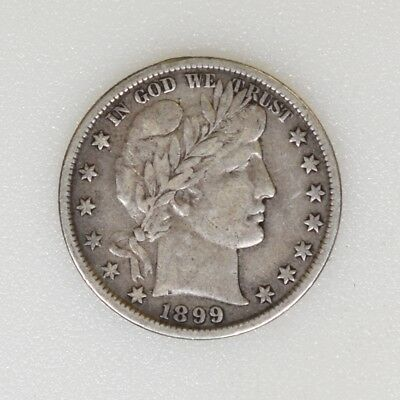 1899-P VF Condition Barber Silver Half Dollar Nice Color & Strike - I-14675 G
