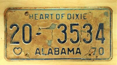 1970 Vintage Alabama Heart Of Dixie License Plate Auto Car Vehicle Tag #1078