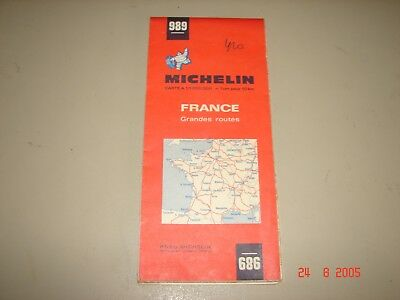 Vintage Michelin Tire #989 France Grandes Routes Folding Map
