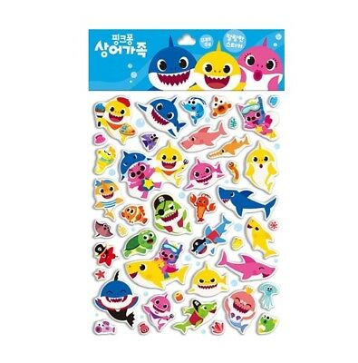 Pinkfong Sticker Soft Toys Shark Family For Baby Infant Kid Character