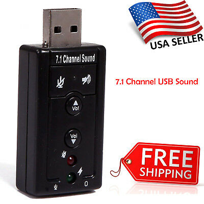 USB 2.0 External 7.1 Channel 3D Virtual Audio Sound Card Adapter PC Laptop