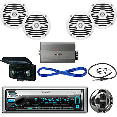 Kenwood Marine Receiver, Wired Remote, Speakers, Amplifier, Wire, Antenna, Cover