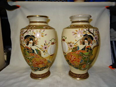 "Pair Of Vintage Signed 12"" Attractive Japanese Satsuma Vases"