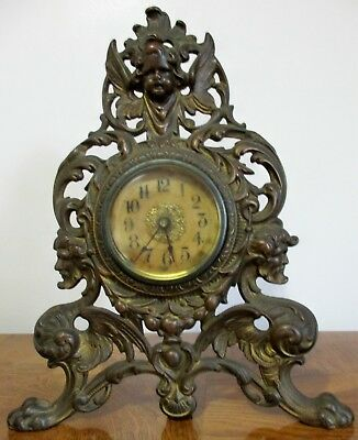 Antique Art Nouveau Mantle Clock with Brass finish patent 1908 in working order