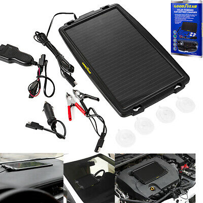 Goodyear Solar Power Car Caravan Battery Trickle Charger Cigarette Lighter/OBD2