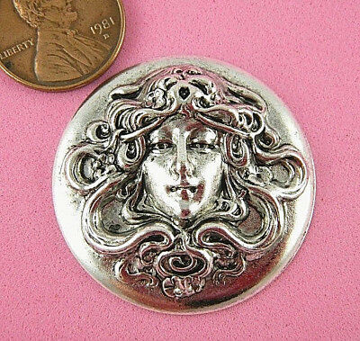 Beautiful Vintage Design Antique Silver Plated Brass Art Nouveau Maiden #1 - 1 P
