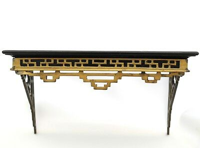 Antique Wiener Werkstatte Austria Wood Brass Wall Shelf Early 1900's