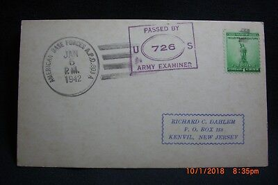 1942 Censored Post Card APO 803 (Trinidad) to Kenvil New Jersey