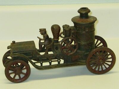 Vintage Hubley Cast Iron Fire Engine With Driver, Early Toy, Original