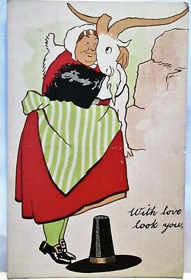 1910 Postcard Wales Woman Hugging Mountain Goat- With Love To You